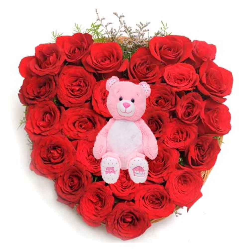 Soft Toy Hampers-Cute Teddy with Rose Heart For You