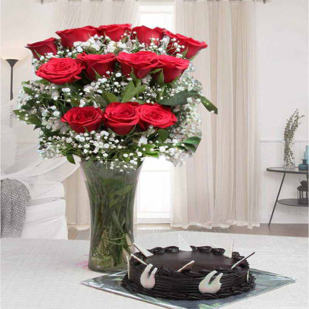 Valentine Gift of Chocolate Cake with Red Roses Arrangement