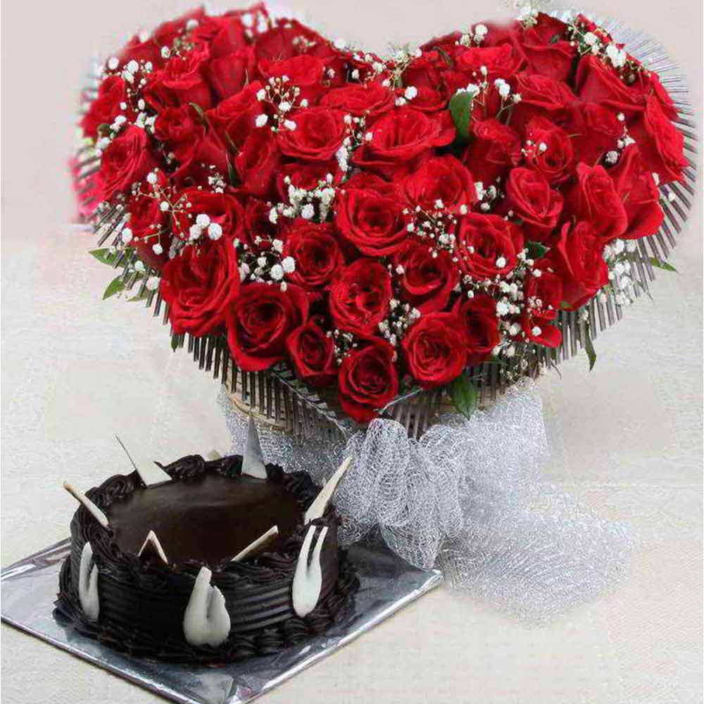 Valentine Heart Shaped Red Roses Basket with Chocolate Cake