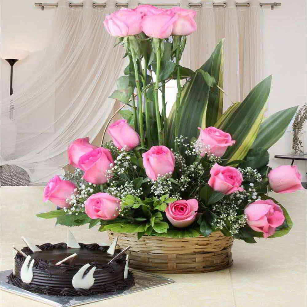 Flowers & Cakes-Valentine Combo of Pink Roses Arranged in Basket with Chocolate Cake