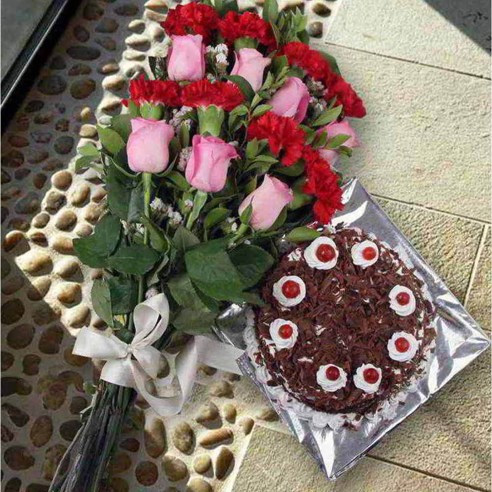 Love Gift of Delicious Black Forest Cake and Mix Flowers Bouquet