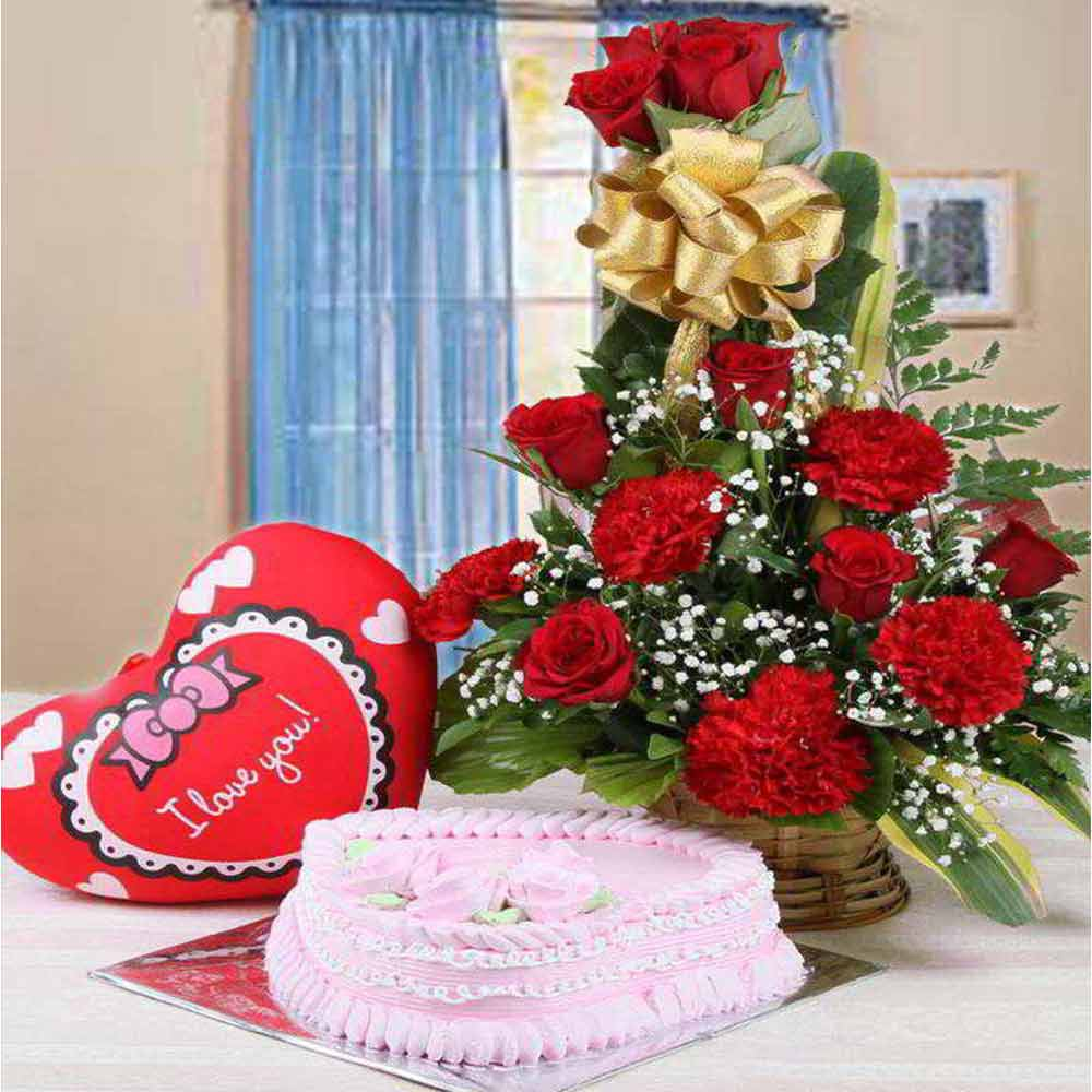 Love Hamper of Strawberry Cake with Red Flowers Arrangement and Red Heart Cushion