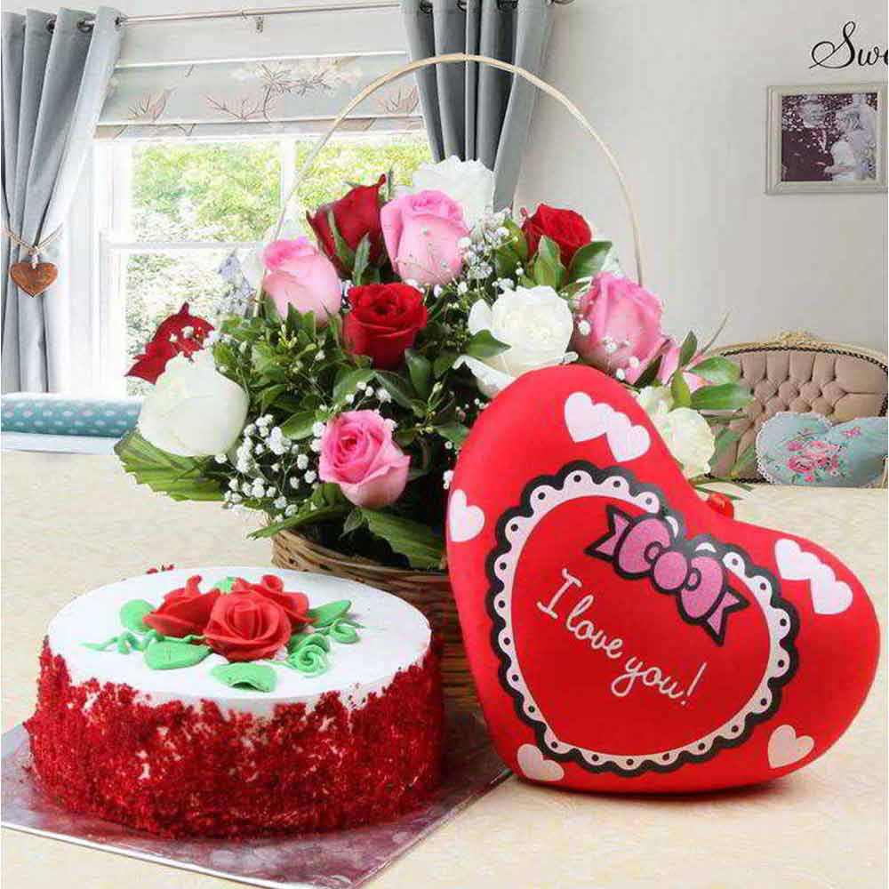 Romantic Gift of Red Velvet Cake and Red Heart Small Cushion and Roses Arrangement