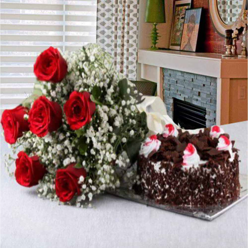 Flowers & Cakes-Valentine Perfect Gift of Black Forest Cake with Red Roses Bouquet