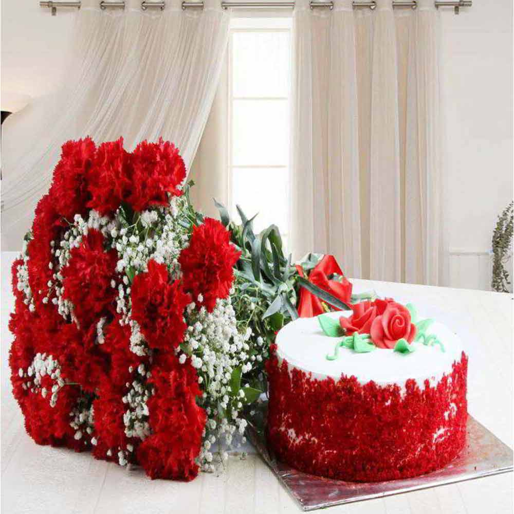 Valentine Exclusive Gift of Red Carnation Bouquet with Red Velvet Cake