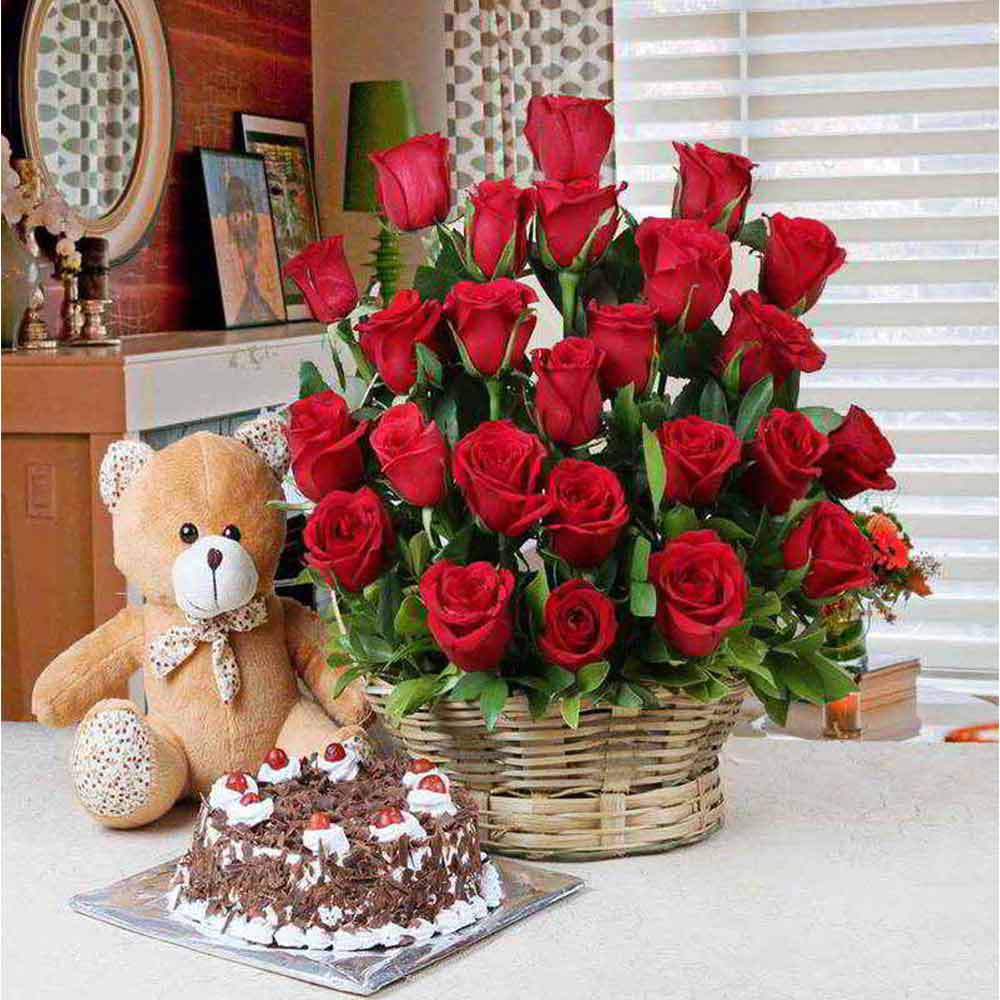 Soft Toy Hampers-Valentine Gift of Black Forest Cake and Basket of Red Roses with Teddy Bear