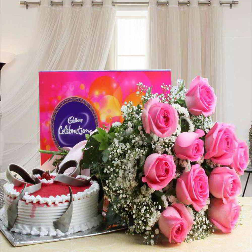 Valentine Combo of Cadbury Celebration Chocolate Pack and Pink Roses with Strawberry Cake
