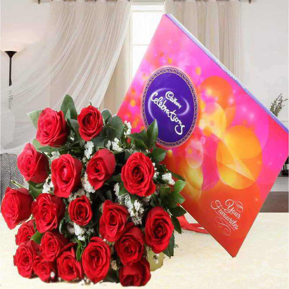 Valentine Perfect Gift of Red Roses Bouquet with Cadbury Celebration Chocolate Pack