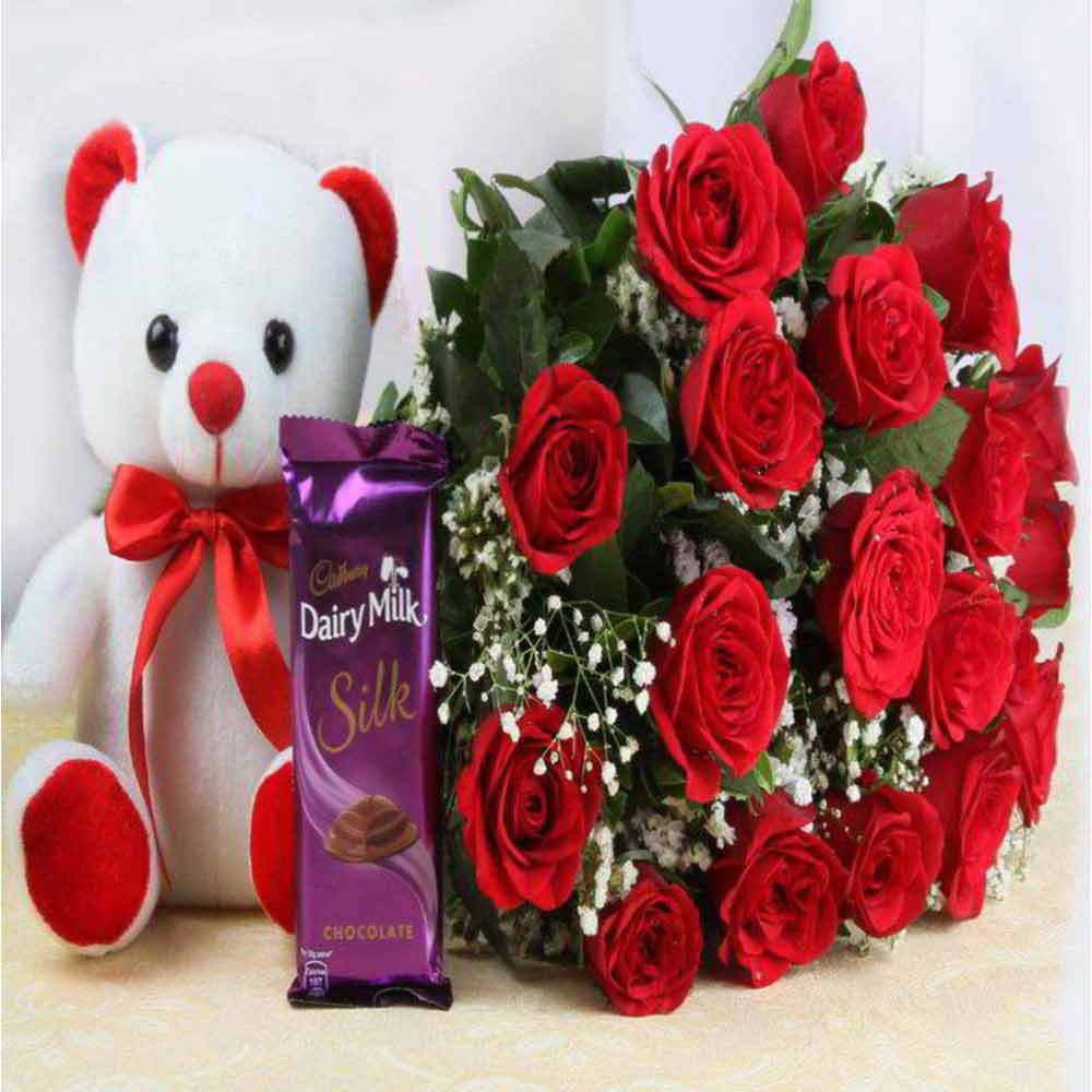 Best Valentine Gift of Red Roses and Cute Teddy Bear with Cadbury Dairy Milk Silk