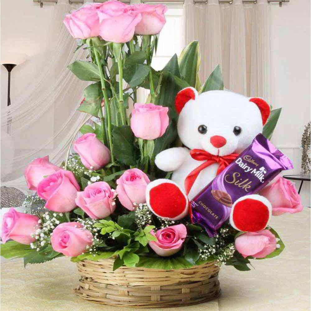 Valentine Love Teddy Bear with Basket of Pink Roses and Cadbury Dairymilk Silk Chocolate