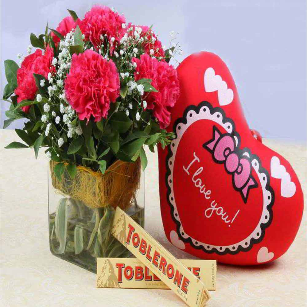 Valentine Gift of Pink Carnations with Small Cushion and Toblerone Chocolates