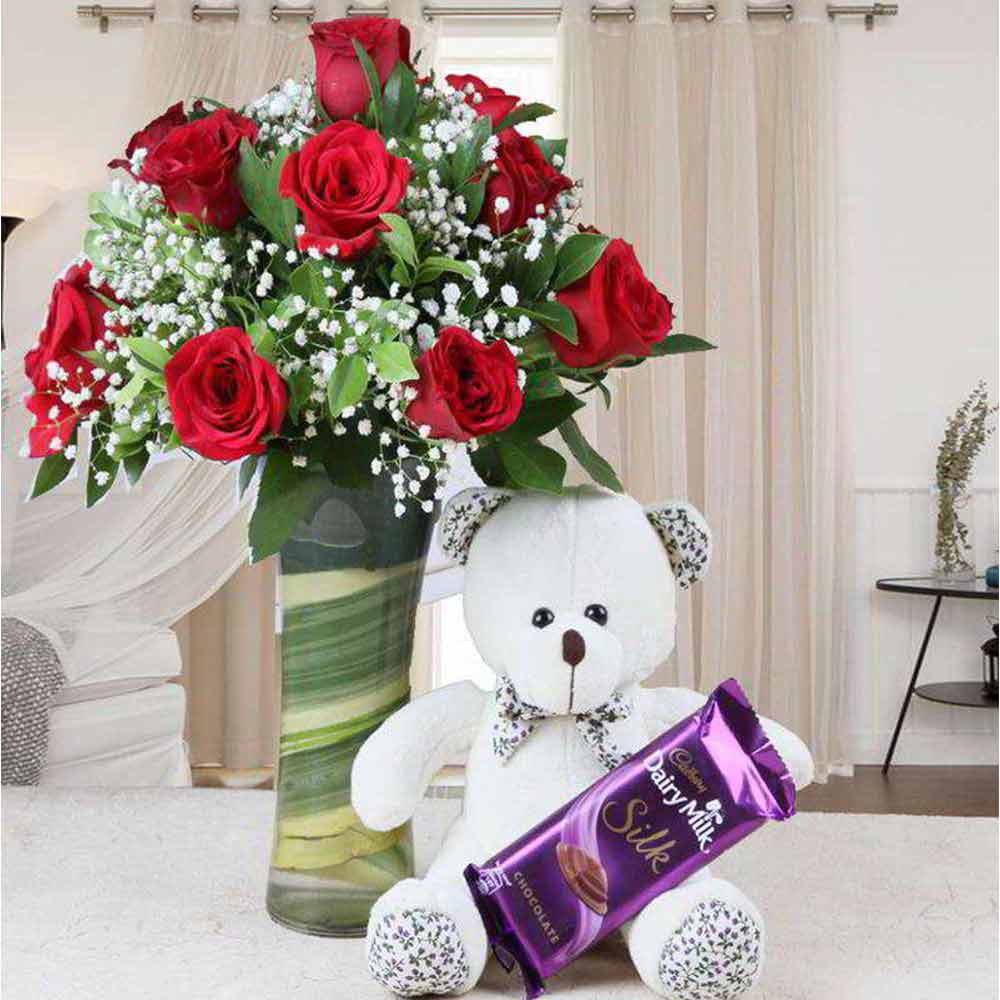 Valentine Romantic Gift of Teddy Bear and Chocolate with Vase of Red Roses