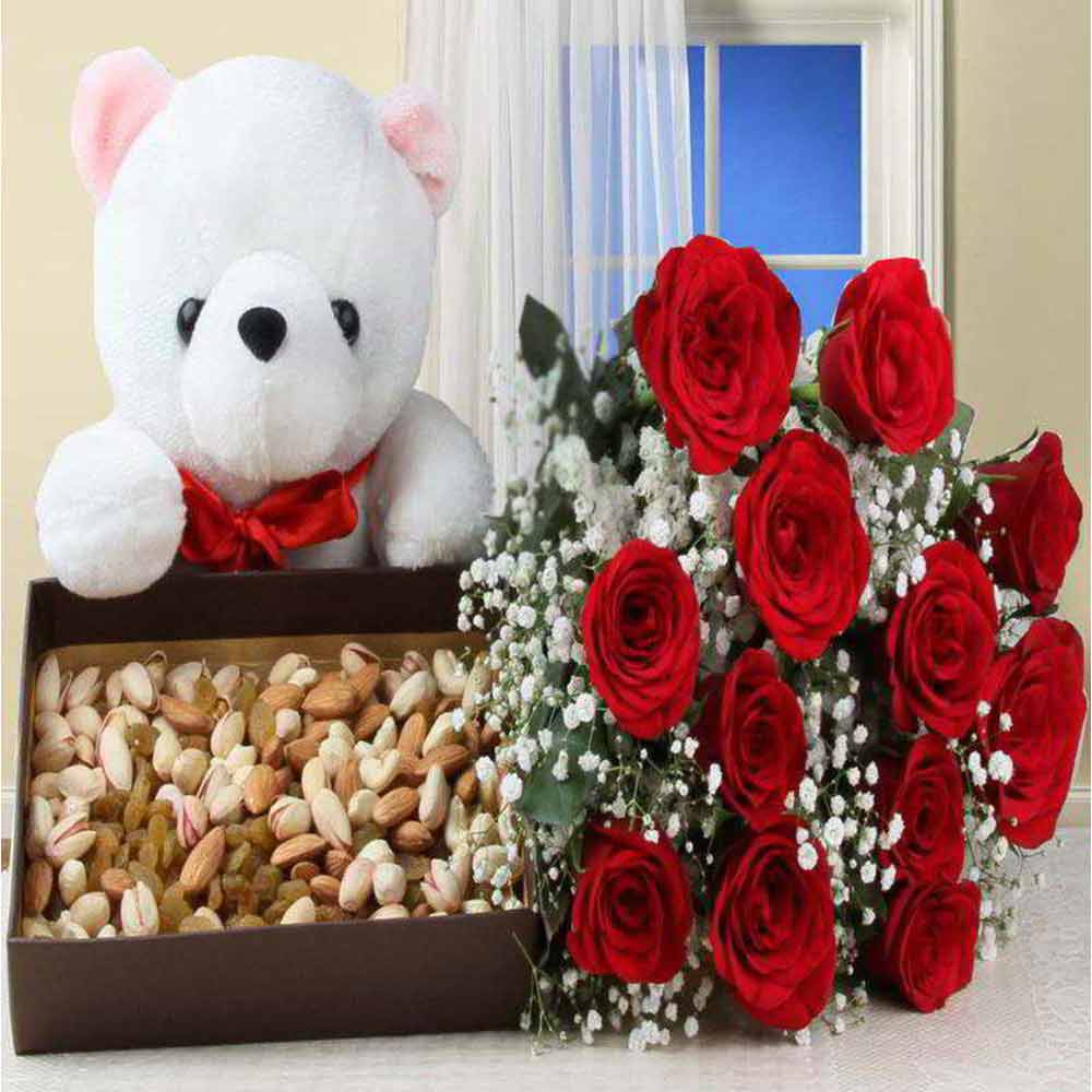 Valentine Healthy Combo of Dry Fruits Box and Red Roses with Teddy Bear