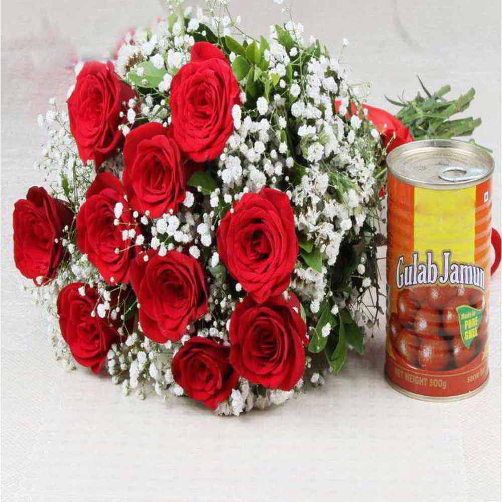 Ten Red Roses with Gulab Jamun For Valentine