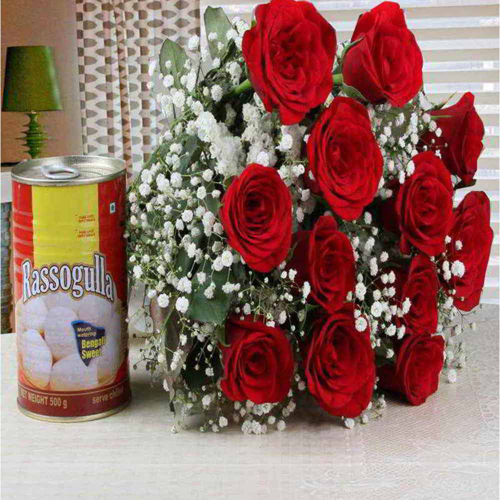 Valentine Combo of Red Roses Bouquet with Rasgulla