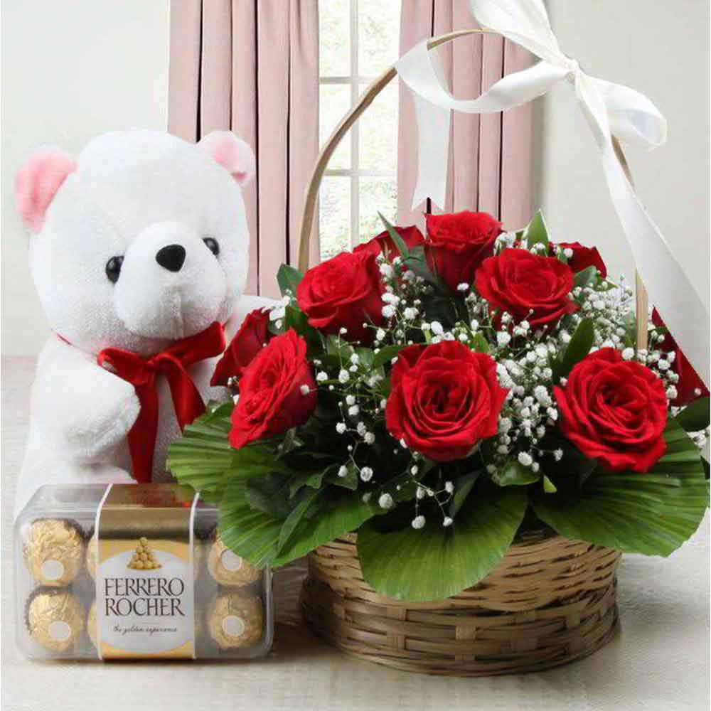 Valentine Gift Basket of Roses with Teddy and Ferrero Rocher Chocolate