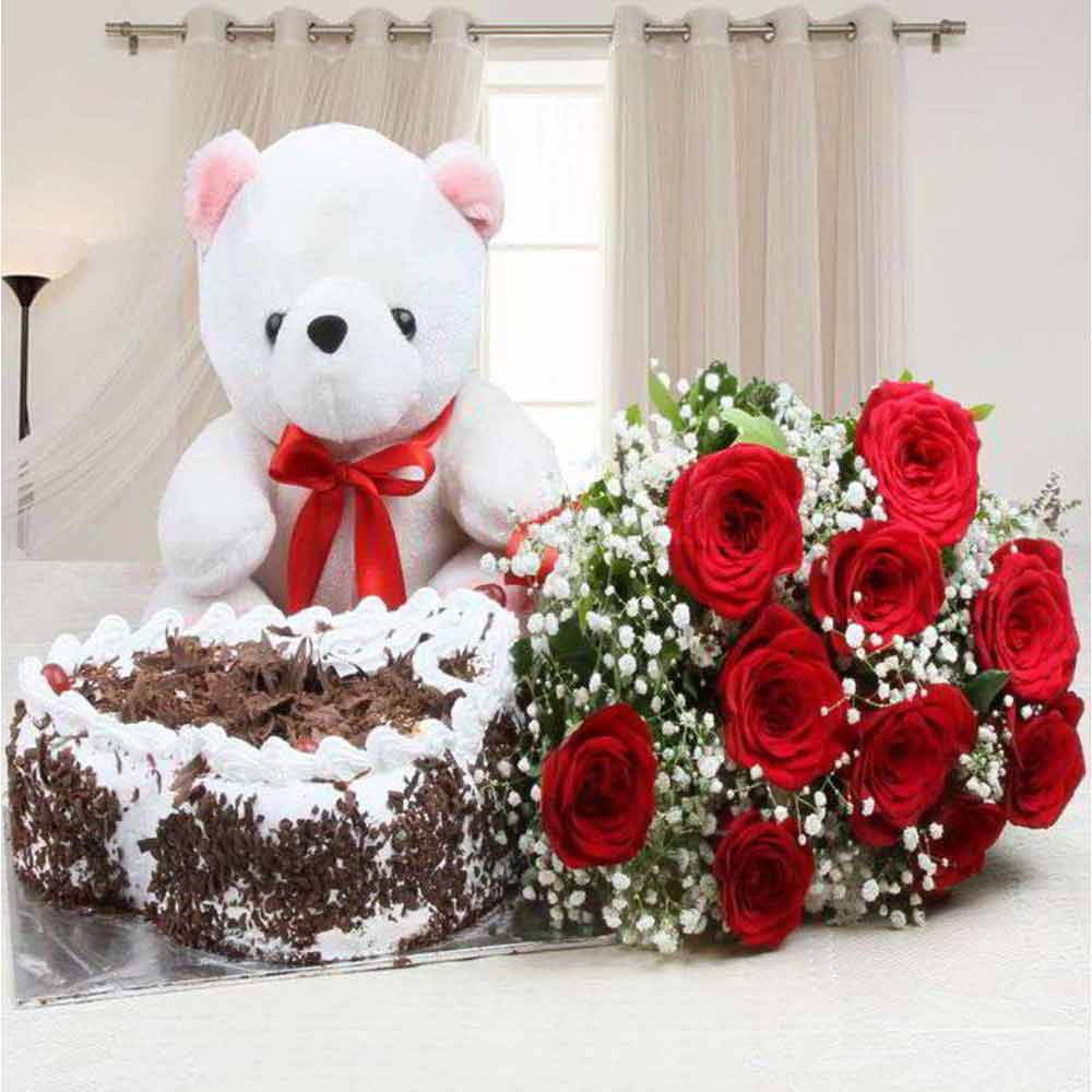 Valentine Complete Hamper of Cake with Roses and Teddy