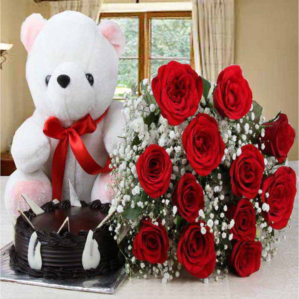 Bouquet of Red Roses and Chocolate Cake with Teddy Bear For Valentine Gift