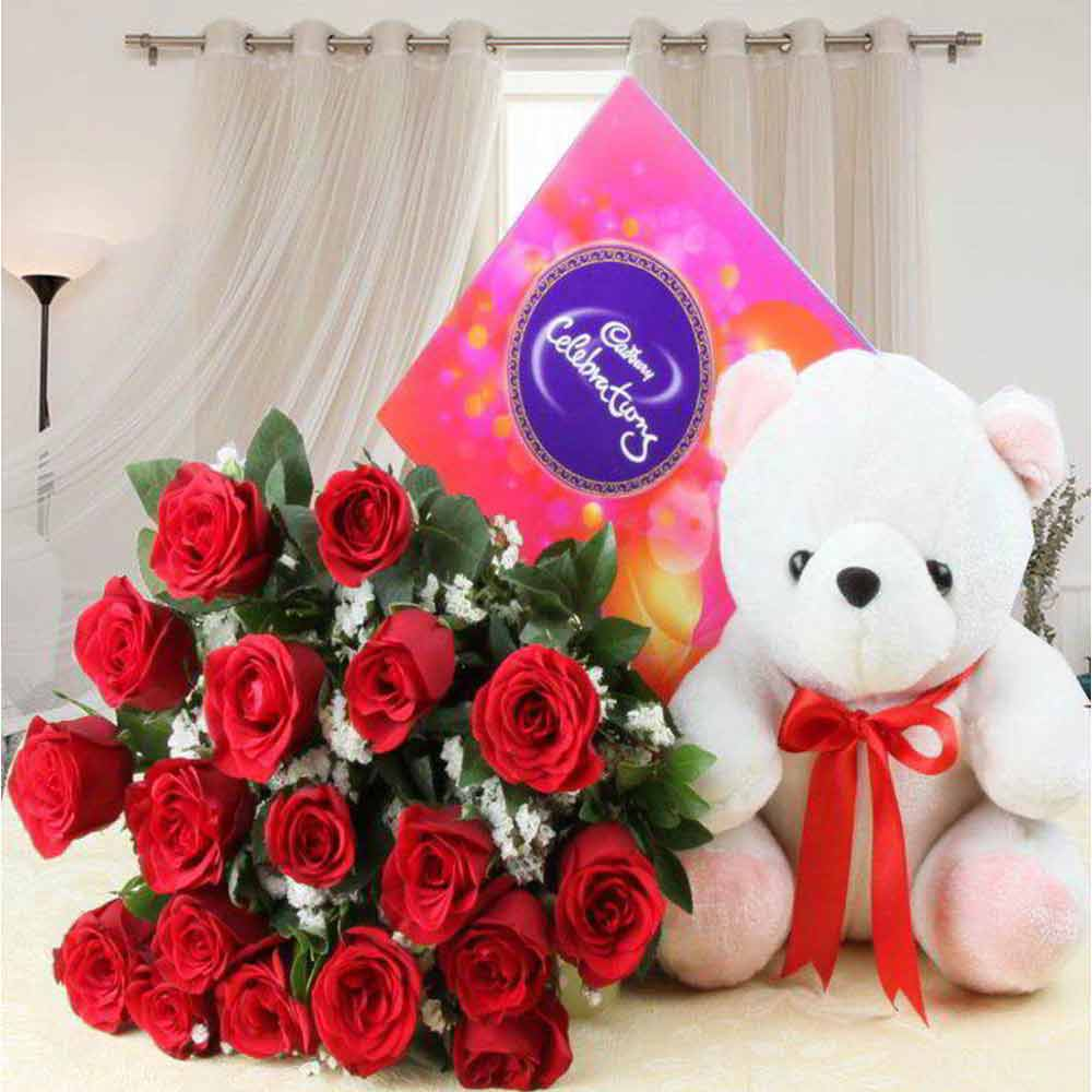Soft Toy Hampers-Celebration Chocolate Pack and Red Roses with Teddy For Valentine