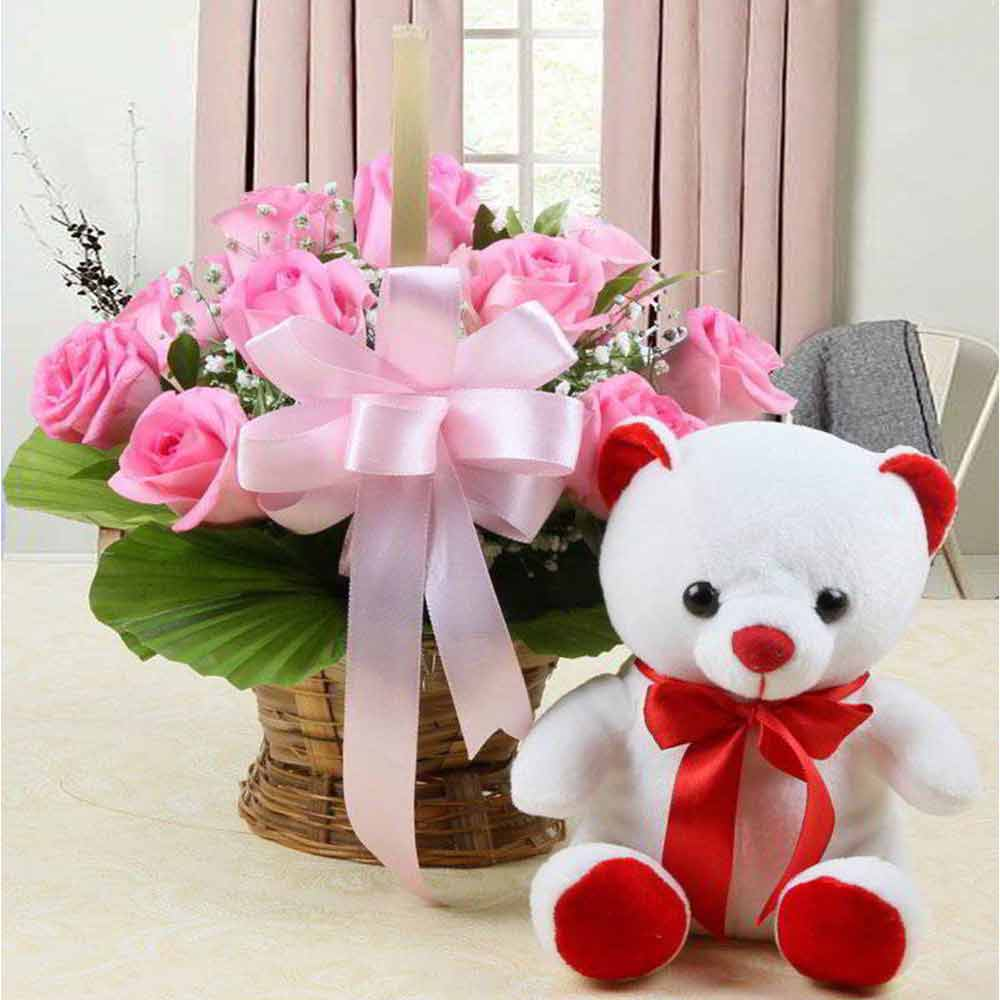 Love Gift Basket of Pink Roses with Teddy Bear