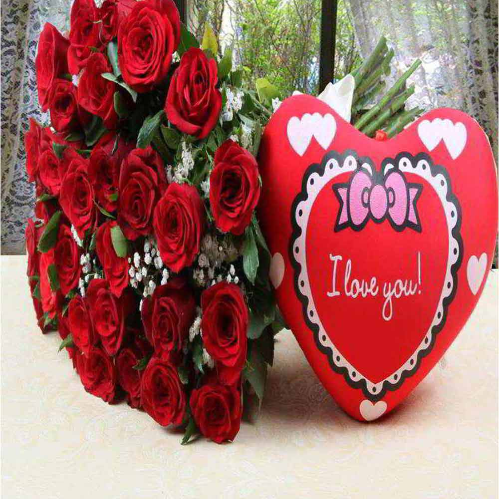 Valentine Hamper of Heart Shape Small Cushion with Red Roses Bouquet