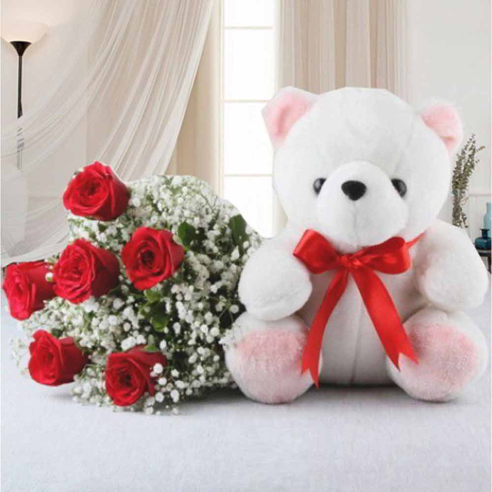 Valentine Gift Combo of Red Roses Bouquet with Teddy Bear