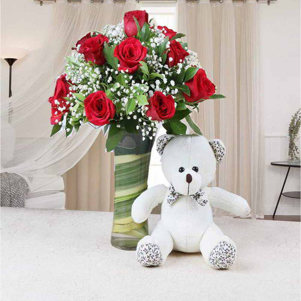 Soft Toy Hampers-Glass Vase of Red Roses with Teddy Bear For Valentine Gift