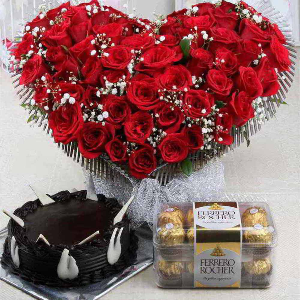 Soft Toy Hampers-Valentine Roses Arrangement with Chocolate Cake and Ferrero Rocher Box