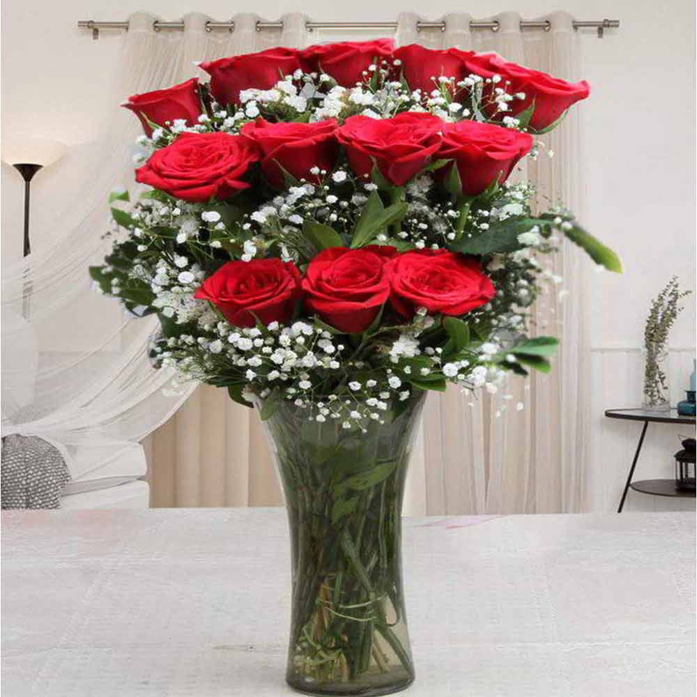 Glass Vase of One Dozen Red Roses For Valentines Gift