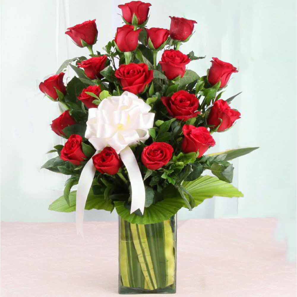 Valentine Roses-Vase Arrangement of Valentine Love Roses