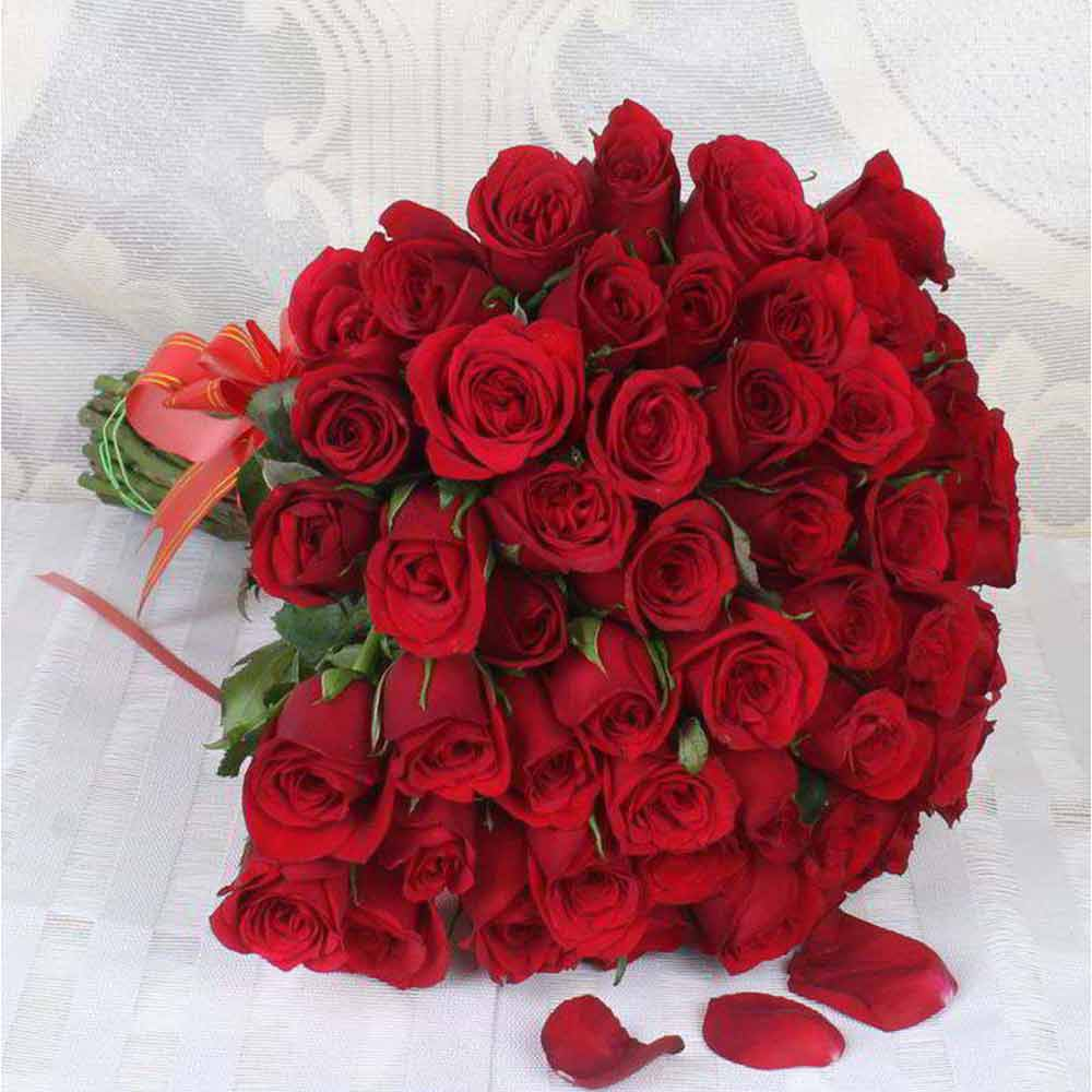 Valentine Roses-Bouquet of Fifty Love Roses For Valentine