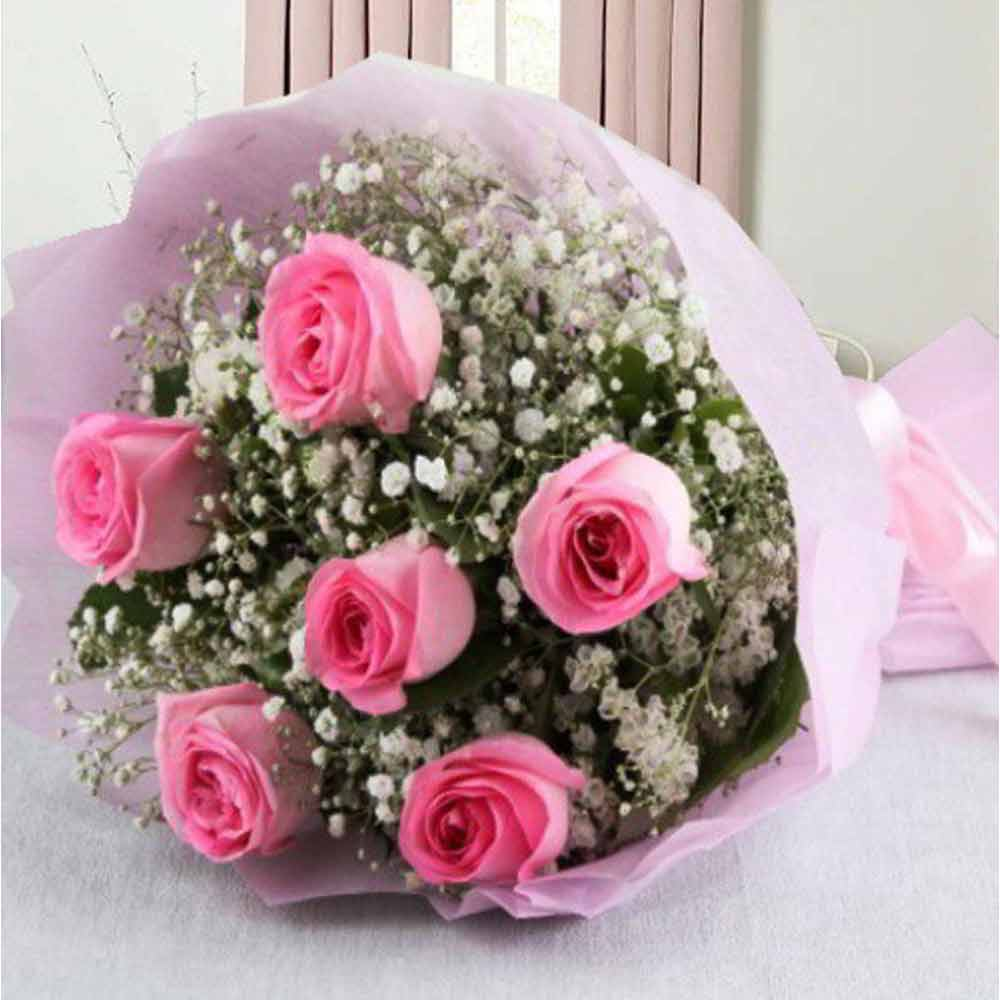 Valentine Love Bouquet of Six Pink Roses