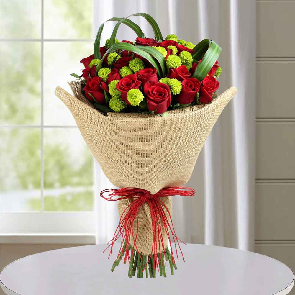 Classic Red Roses Hand Tied Bouquet