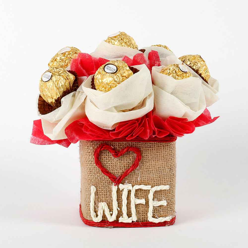 Love Wife Ferrero Rocher Chocolates Vase Arrangement