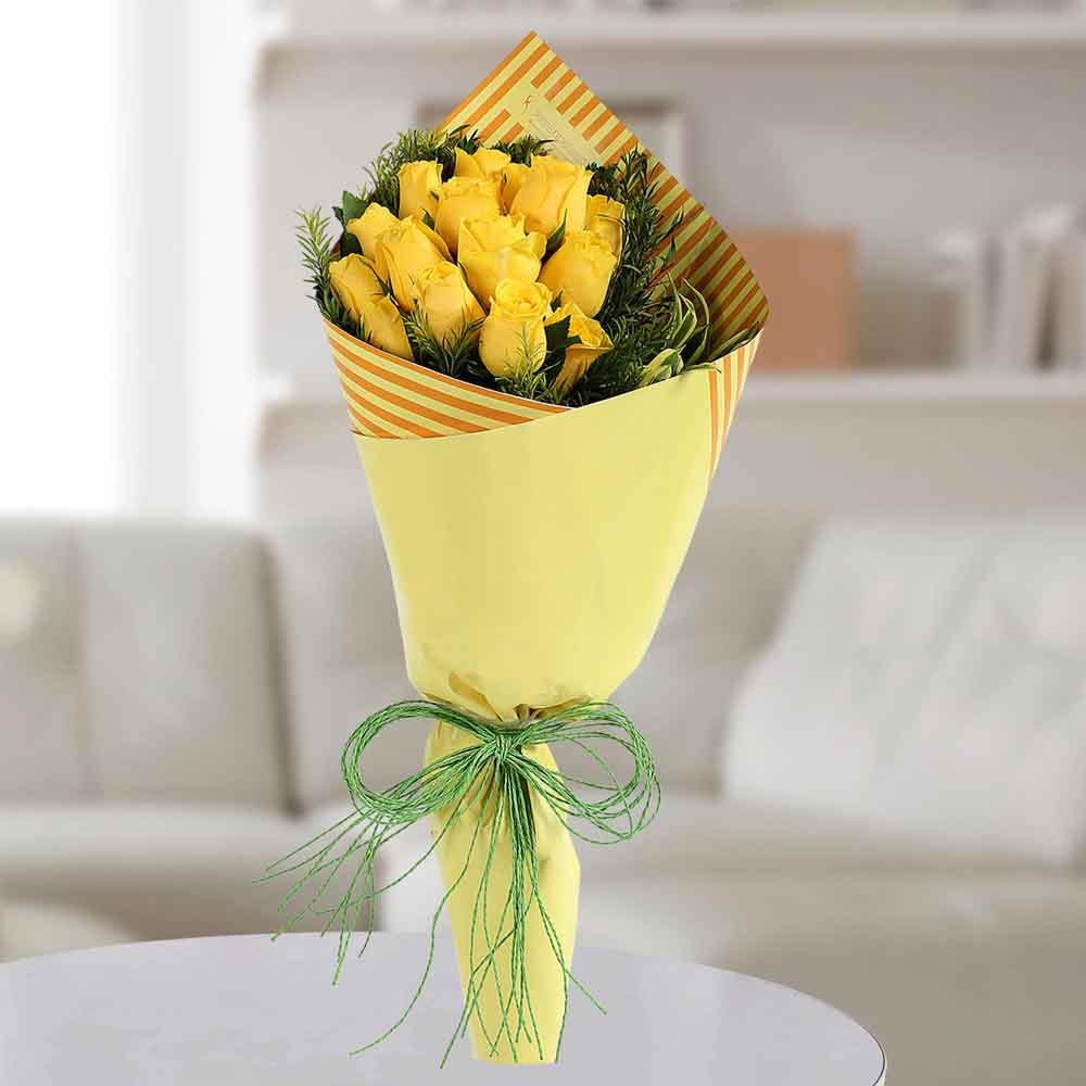 Valentine Roses-Yellow Roses Bunch
