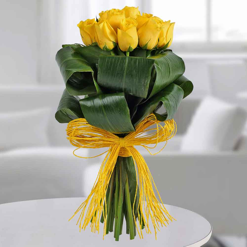Valentine Roses-Gleams Of Sunshine Bouquet