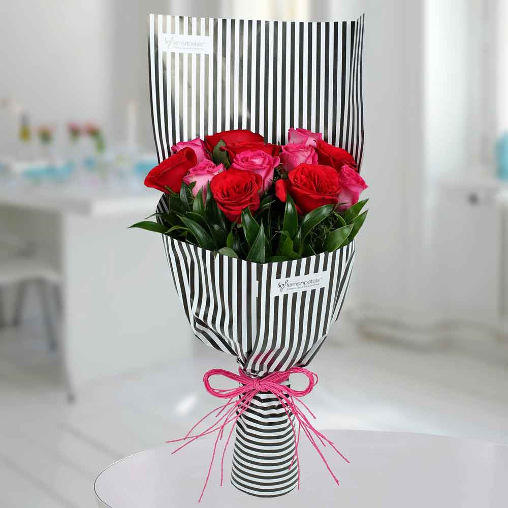 Valentine Roses-Red N Pink Roses Bunch