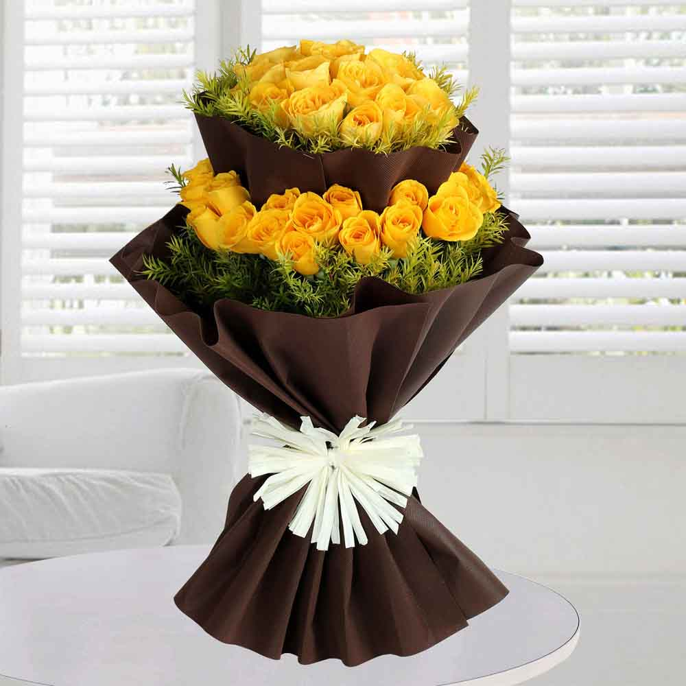 Valentine Roses-Bright Yellow Roses Bunch