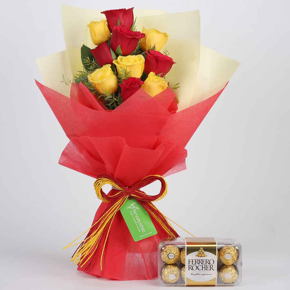 Flowers & Chocolates-Red & Yellow Roses with Ferrero Rocher