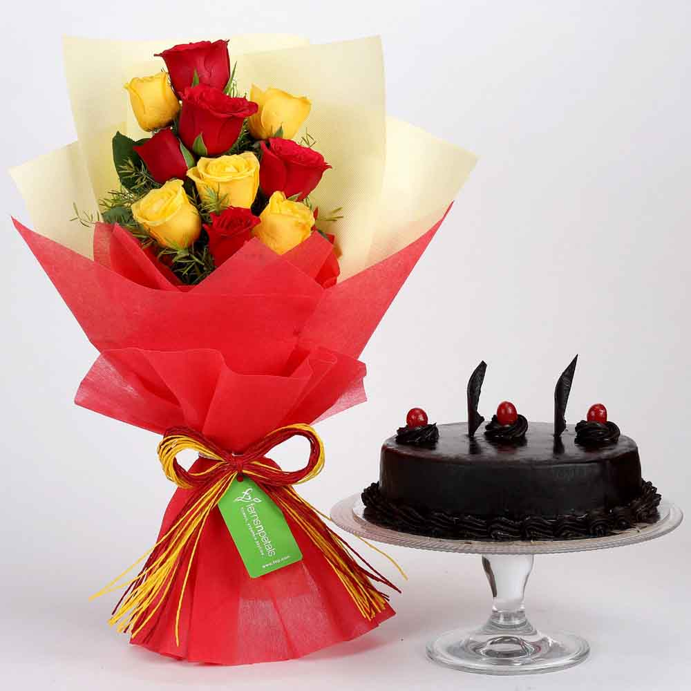 Red & Yellow Roses with Truffle Cake