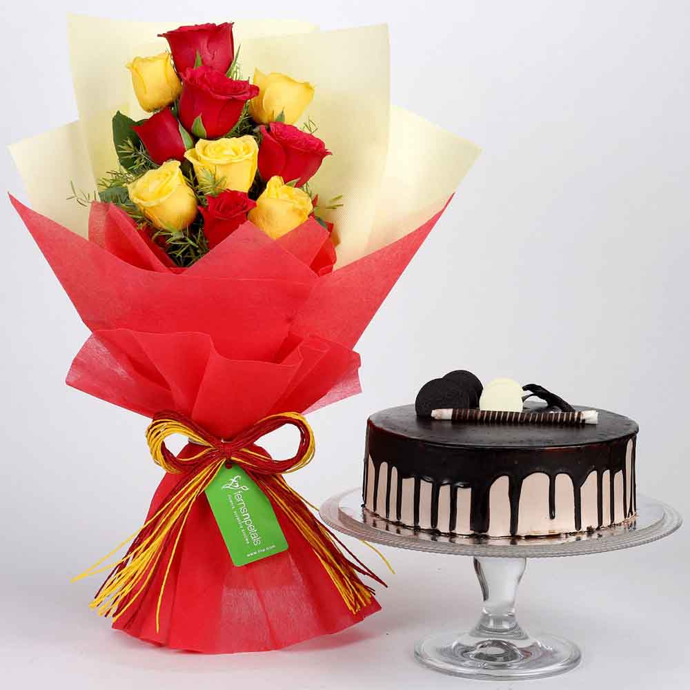 Red & Yellow Roses with Chocolate Cake