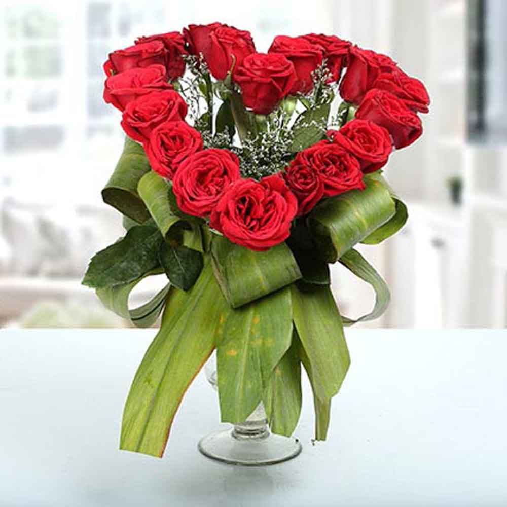 Heartshaped Vase Arrangement