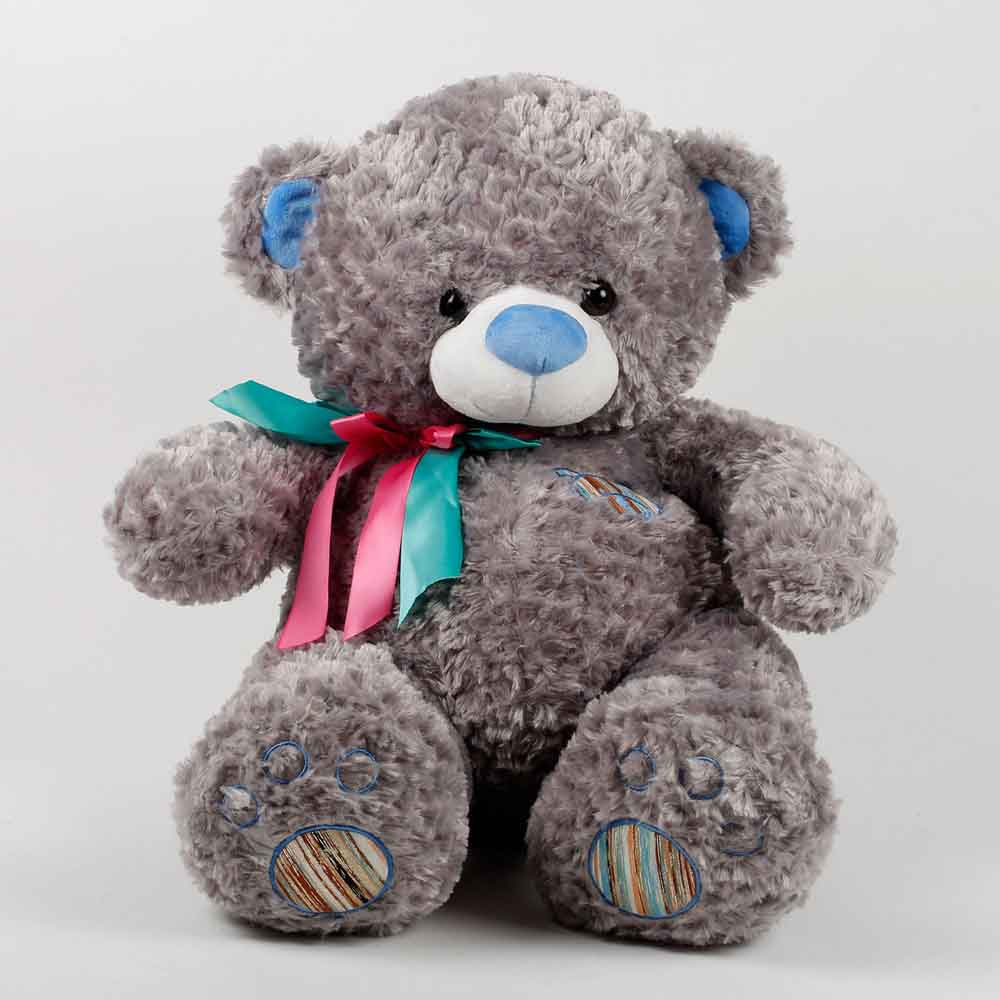 Romantic Toys-Teddy Bear With Rose Fur Pattern Grey