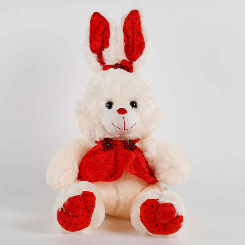 Romantic Toys-Bunny With Dress Soft Toy Cream