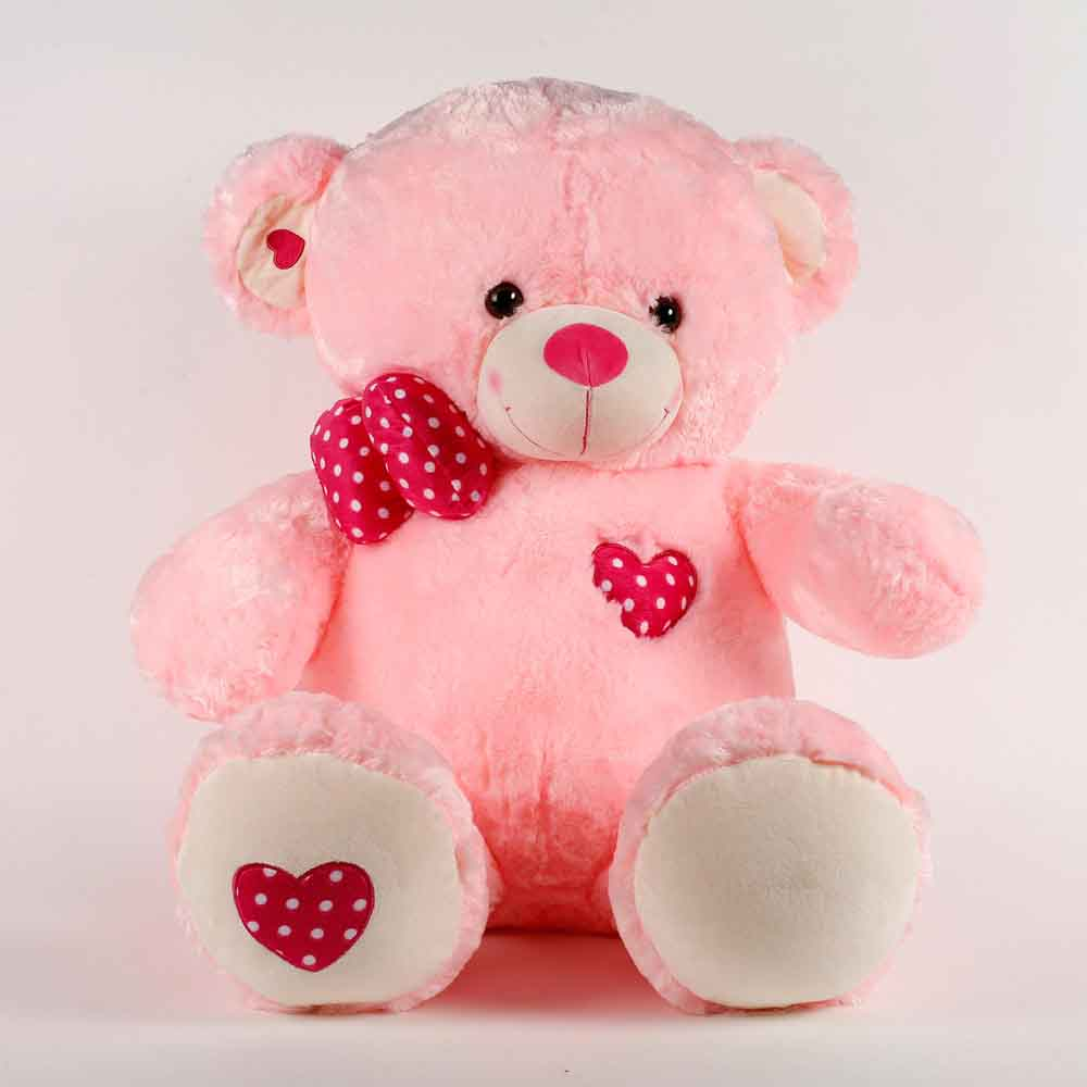 Romantic Toys-Large Teddy Bear With Heart Patch Pink