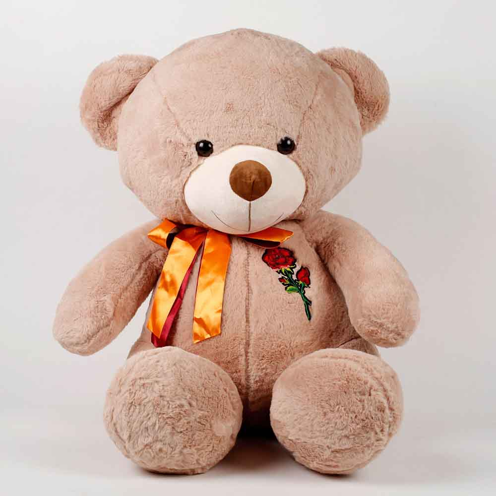 Teddy Bear With Rose Patch Brown