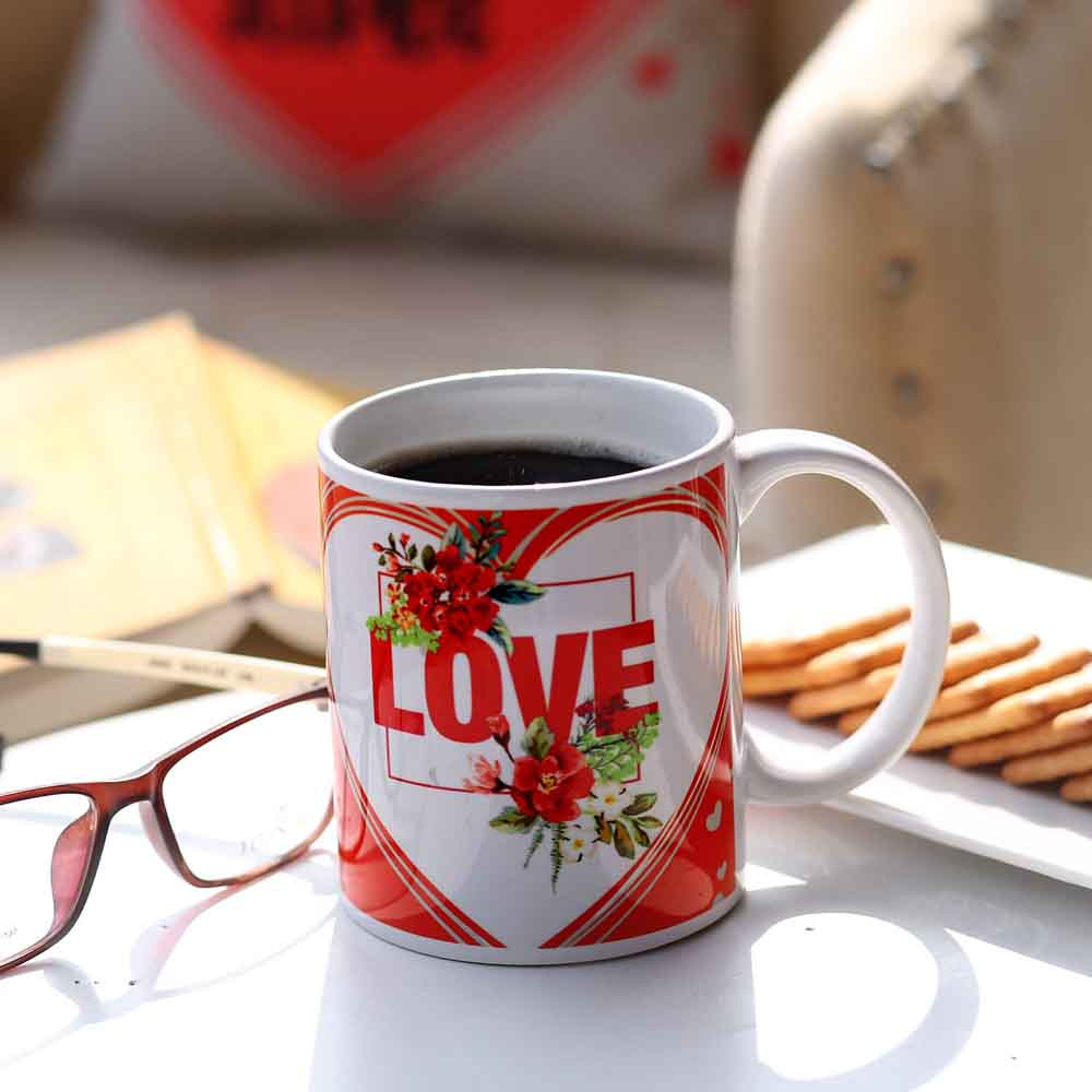 Red & White Love Mug