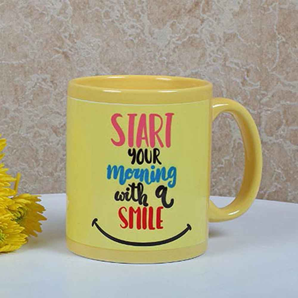 Yellow Ceramic Smiley Mug