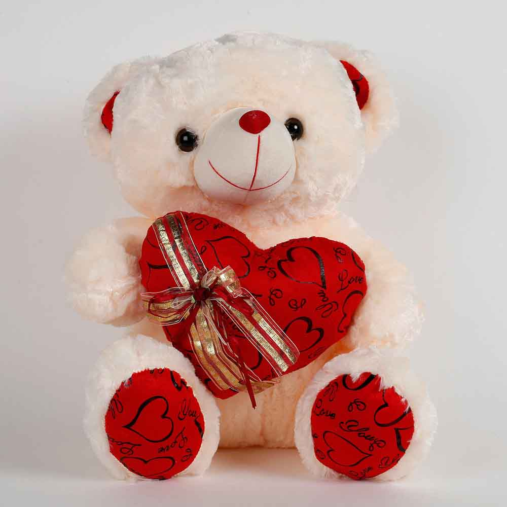 Romantic Toys-Teddy Bear In Lace Dress Cream