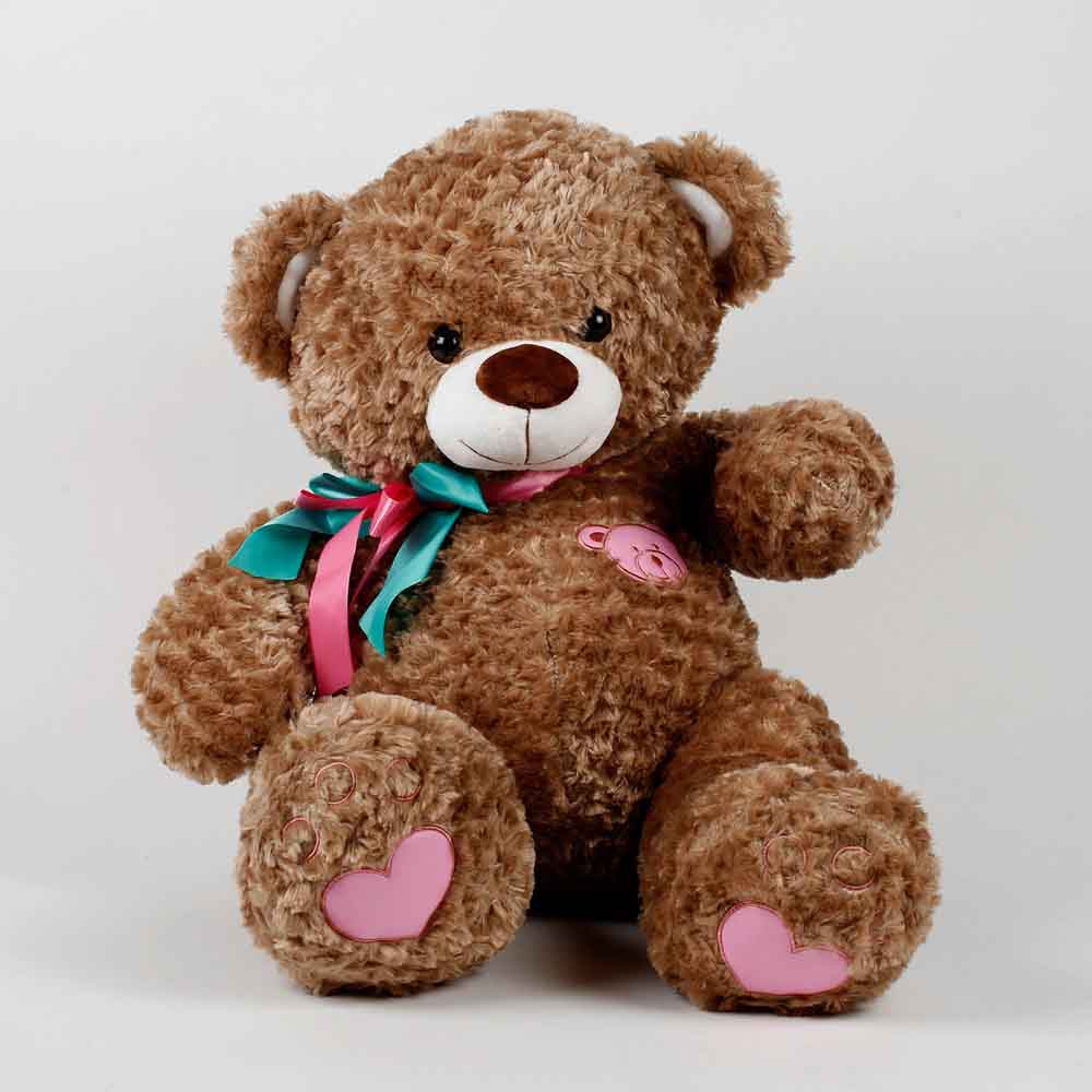 Romantic Toys-Teddy Bear With Rose Fur Pattern Brown